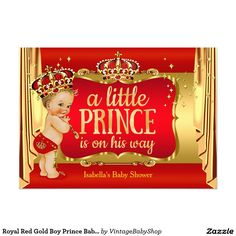 Royal Red Gold Boy Prince Baby Shower Blonde Card