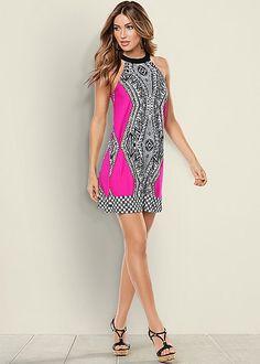 PINK MULTI Geometric Print Dress from VENUS
