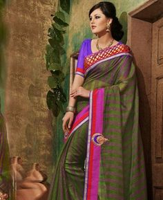 Buy Angelic Green Party Wear Saree online at $70.88 [APRC77022]