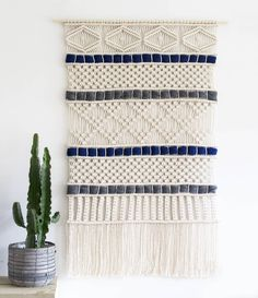 """1,299 mentions J'aime, 25 commentaires - Rianne Zuijderduin (@teddyandwool) sur Instagram : """"Finished this custom made XL wall hanging yesterday! Love how it turned out! The navy and…"""" Macrame Curtain, Macrame Cord, Large Curtains, How To Make Rope, Wedding Wall, Crochet Decoration, Weaving Textiles, Tear, Woven Wall Hanging"""