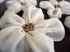 Cream Chiffon Flowers Handmade Appliques by BizimSupplies on Etsy, $15.00