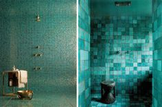 lovers of mint: Bleu something Oh My Home, Wall Finishes, Mosaic Tiles, Mosaics, Small Apartments, Bathroom Interior, Hygge, Bathtub, Mirror