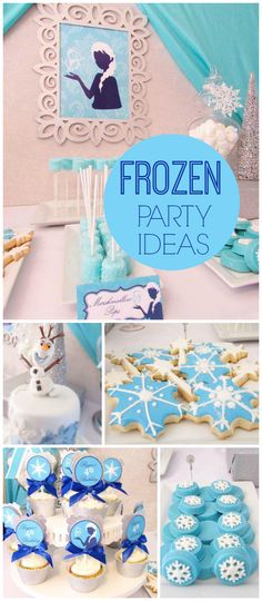 A Frozen themed girl birthday party with pretty cookies, cupcakes and chocolate covered Oreos! See more party planning ideas at CatchMyParty.com!