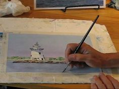 Saybrook Lighthouse Watercolor Demo by Sharon Farber