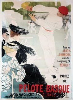 Pelote Basque - Neuilly - Dans le Parc du Cercle de St James vers 1900 Neuilly sur Seine (Hauts de Seine) Aff. Entoillée/Poster on Linnen B.E. B + Belle affiche. Déchirures restaurées. Traces de plis.… - Artprecium - 15/10/2015