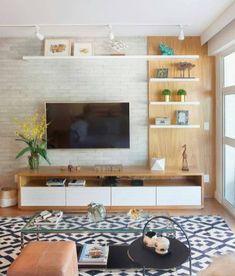 Tv Unit Decor, Tv Wall Decor, Decor Room, Living Room Decor, Wall Tv, Living Room Ideas Tv Wall, Cozy Living Rooms, New Living Room, Living Room Interior