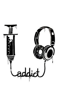 #Music #addict #LetsGetWordy #headphones #syringe