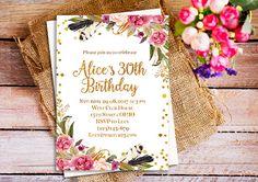 Boho Bohemian Floral Birthday invitation, 21st Birthday invitation, Gold floral adult birthday invitation, 25th birthday Invite Surprise