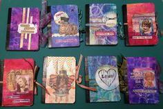 Little composition books transformed into mini art journals. ♥