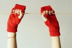 Red Fingerless gloves Valentine's day handknitted by Notforeat