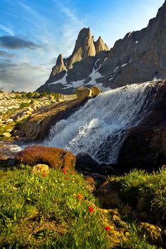War Bonnet Peak and Waterfall, in Wyoming
