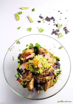 Mexican Chopped Salad with Grilled Chicken and Guacamole