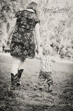 country family photography - mom and son walking in field - toddler photography