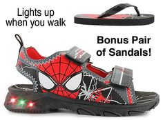 Protect your city with Spider-Man®: synthetic upper with Spider-Man graphics, lightly cushioned footbed, two Velcro® straps provide a secure fit, lights flash on outsole when you step, durable and flexible outsole, added traction, bonus pair of flip-flop sandals included