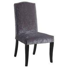 Sophie Ann Dining Chair with Nailheads Wood/Silver Velvet - Bombay : Target