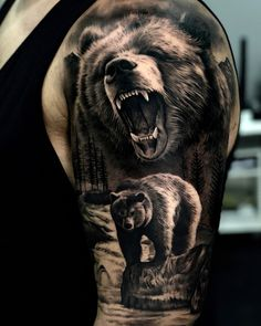 Bear tattoo for men by Sergio Fernandez Malaga Spain Bear tattoo for men by Sergio Fernandez Malaga Spain baba dochia babadpchia Grizzly bear tattoos Bear tattoo for men nbsp hellip Wolf Tattoos Men, Animal Tattoos For Men, Native Tattoos, Tattoos For Guys, Cool Tattoos, Grizzly Bear Drawing, Grizzly Bear Tattoos, Nature Tattoo Sleeve, Best Sleeve Tattoos