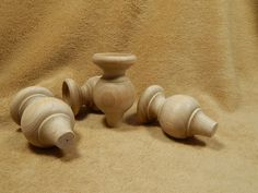 Unfinished Hard Wood Wooden Tulip Candle Cups Lot of 4