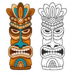 Tiki Wooden Mask - GraphicRiver #BestDesignResources