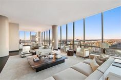 157 West 57 Street | One57 -- $29,995,000 -- This prized A line at Christian de Portzamparc's iconic luxury tower boasts truly stunning views that perfectly frame Central Park with interiors by Thomas Juul-Hansen. The sprawling 4,483 s/f 3-bed, 4.5 bath home features a 1,300 s/f great room boasting 100 feet of windows with 11'10'' ceilings, 3 exposures and views stretching from the Hudson to the East River.