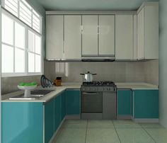 L-Shaped Layout Kitchen Cabinet.