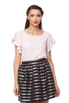Bluza roze din matase naturala 1033 de la Ama Fashion