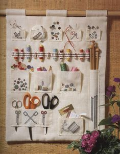 Cross stitched sewing organizer