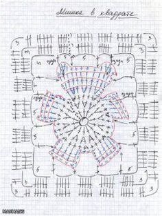 crochet chart for a Bear Granny  Square