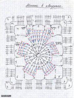 crochet chart for a Bear Granny Square