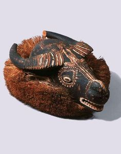 Africa | Buffalo mask from the Holo people of the Democratic Republic of Congo | Wood, pigment and natural fiber