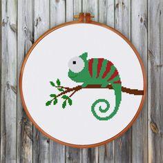 Chameleon cross stitch pattern and cross stitch kit by ritacuna