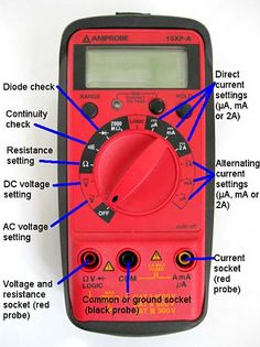 Multimeter Tutorial: explains the basic functions of a multimeter and shows how to measure voltage, resistance, and current with digital multimeters. Basic Electrical Wiring, Electrical Projects, Electronics Basics, Electronics Projects, Electronic Engineering, Electrical Engineering, Entertainment System, Science Fair Projects, Diy Projects