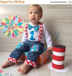 ON SALE 24 HOURS Dr. Seuss Baby Boy 1st Birthday by ByEllenBaby