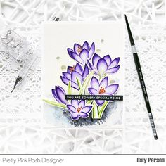 This is Caly! My project for Pretty Pink Posh this month features the Crocus Flowers. These are one of my favorite early spring blooms and are a sure sign that winter is nearly over. Flower Stamp, My Flower, Flowers, Card Tags, I Card, Leaf Stencil, Pretty Pink Posh, Flower Video, Friends Set