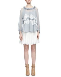 Lace-Trimmed Ruffled-Neck Blouse & Tassel-Detailed Gathered Mini Skirt by Chloe at Neiman Marcus.
