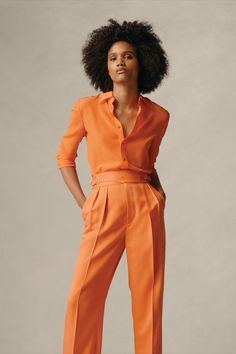 The Hailey Silk Shirt and Kory Wool Gabardine Pant feature classic silhouettes reimagined in statement shades to match the season. #RalphLauren Safari Chic, Ralph Lauren Collection, Daily Fashion, Jumpsuit, Glamour, Silk, Elegant, My Style, Shirts