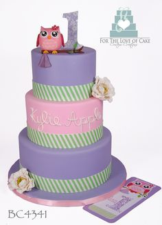 Owl 1st Birthday Cake- For the Love of Cake