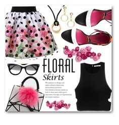 """""""Floral Skirt"""" by juliehalloran ❤ liked on Polyvore featuring Oscar Tiye, Marni, Les Petits Joueurs, STELLA McCARTNEY, Cartier, T By Alexander Wang and Floralskirts"""
