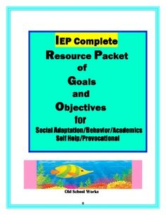 Great and easily implemented customizable product for IEP writing.  Over 200 goals and objectives are included for academics, behavior, social adaptation and vocational skills.  Check our preview, contents and positive comments at Old School Works.