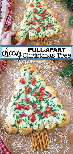 You have to try this delicious cheesy Christmas tree pull-apart bread. This easy to make bread is not only pretty, but it is also delicious with all of its cheesy goodness. This is the perfect appetizer for your holiday gatherings or just for an evening a New Year's Desserts, Christmas Desserts, Christmas Treats, Christmas Tree Food, Christmas Apps, Christmas Cooking, Christmas Movies, Holiday Treats, Christmas 2019