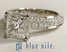 Heirloom Pavé Princess Cut Diamond Engagement Ring in Platinum #BlueNile