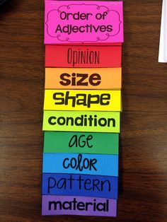 Ordering Adjectives flip book