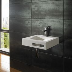 Designer Ultra Modern 40cm x 40cm Wall Mounted Solid Surface Bathroom Basin Sink