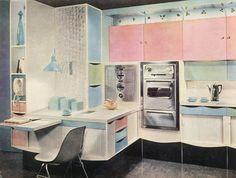 Cuisine américaine avec coin bureau, années 60