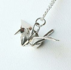 Origami Crane Pendant - Fine Silver by AllegroArts for $42.00 These are actually folded from a sheet of fine silver!