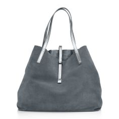 Reversible tote in suede and metallic leather, large. More colors available.