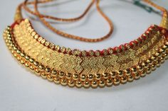 Maharashtrian Traditional Tararani Thushi Choker Necklace Pendant Jewelry, Gold Jewelry, Jewelery, Rajputi Jewellery, Gold Pendent, Pakistani Jewelry, Trendy Necklaces, India Jewelry, Neck Piece