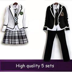 British korean japanese school uniform men and women winter clothing for school uniforme escolar costume for girl and boy 5 sets(China (Mainland))