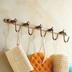 >> Click to Buy << Antique Barss Towel Hooks With 5 Hangers 30 Cm Length Brushed Bathroom Wall Hook Behind The Door Wall Mounted Accessories #Affiliate