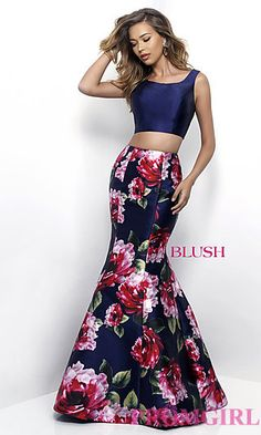 Two-Piece Floral-Print Prom Dress by Blush -PromGirl