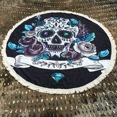 Skull Flower Tassel Round Beach Towel